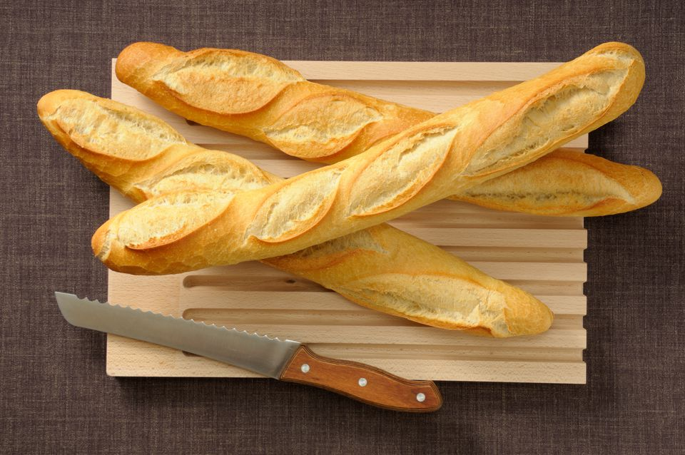 Homemade baguettes on a cutting board
