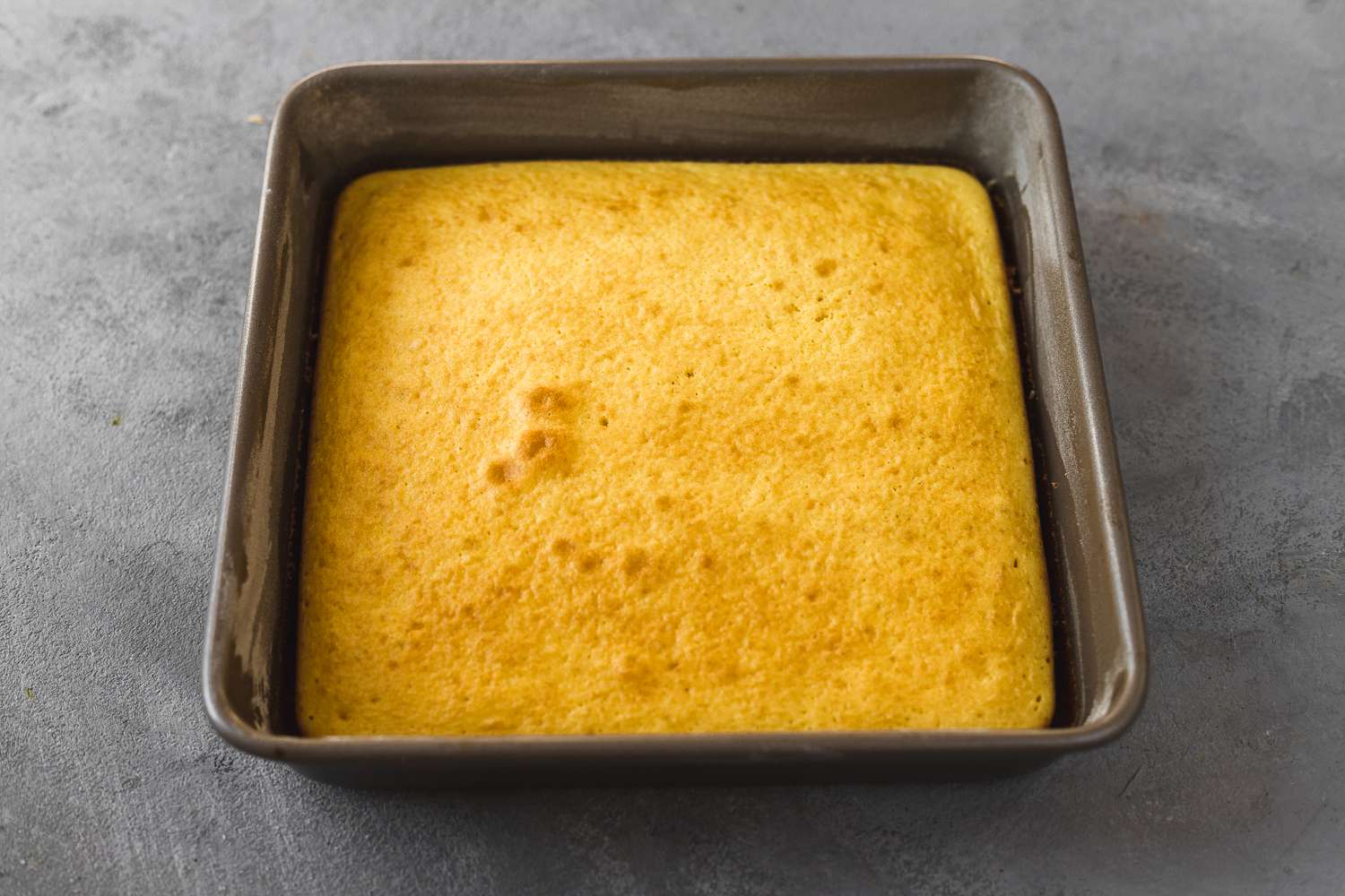 Small Cake From Half of a Box of Cake Mix in a baking pan
