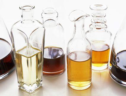 A selection of balsamic vinegars in glass bottles