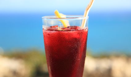 Glass of iced hibiscus tea