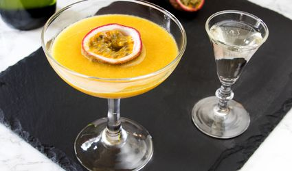 Pornstar Martini Cocktail With Passion Fruit Garnish