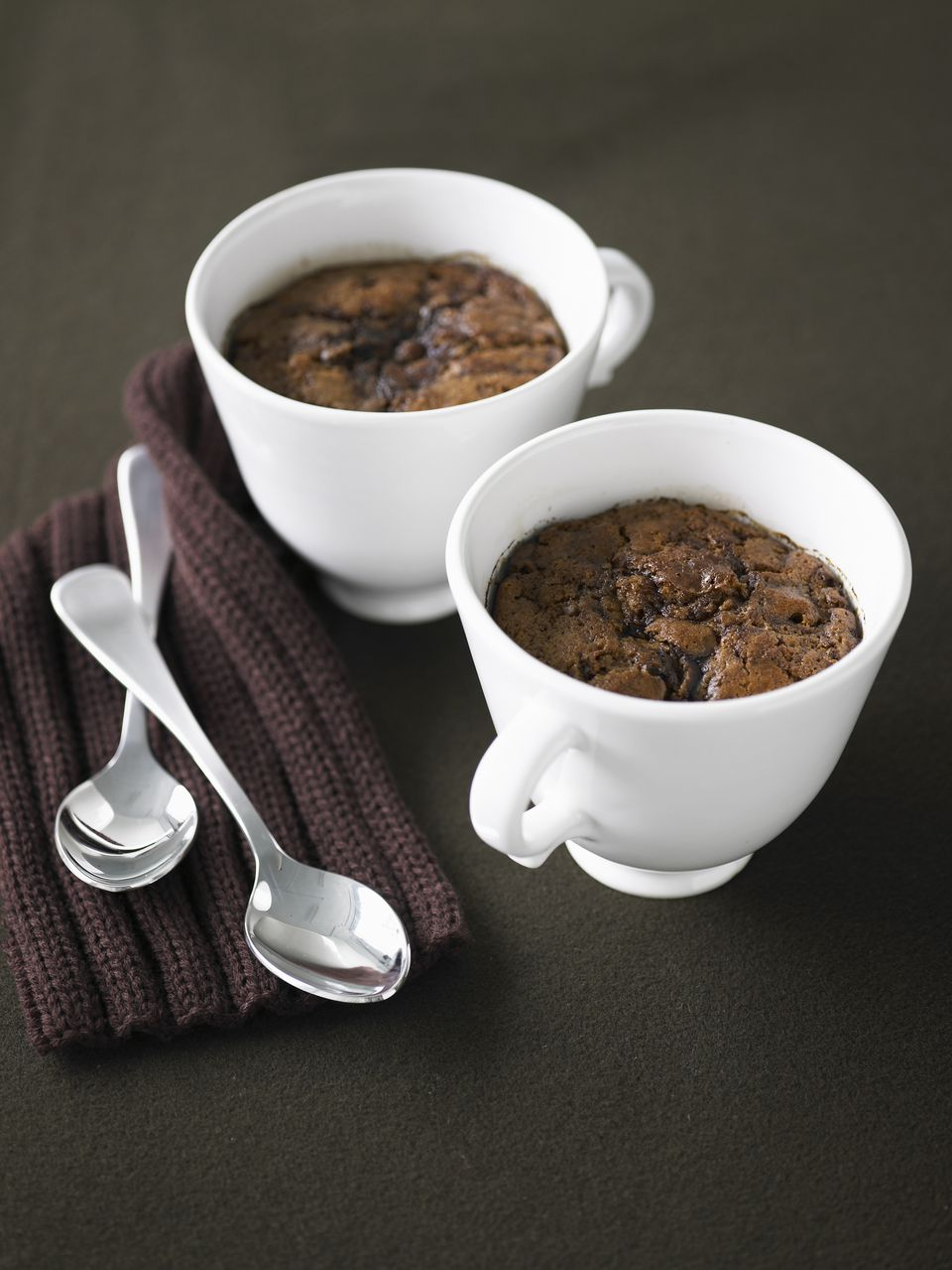 Chocolate sponge fondant cake served in a cup