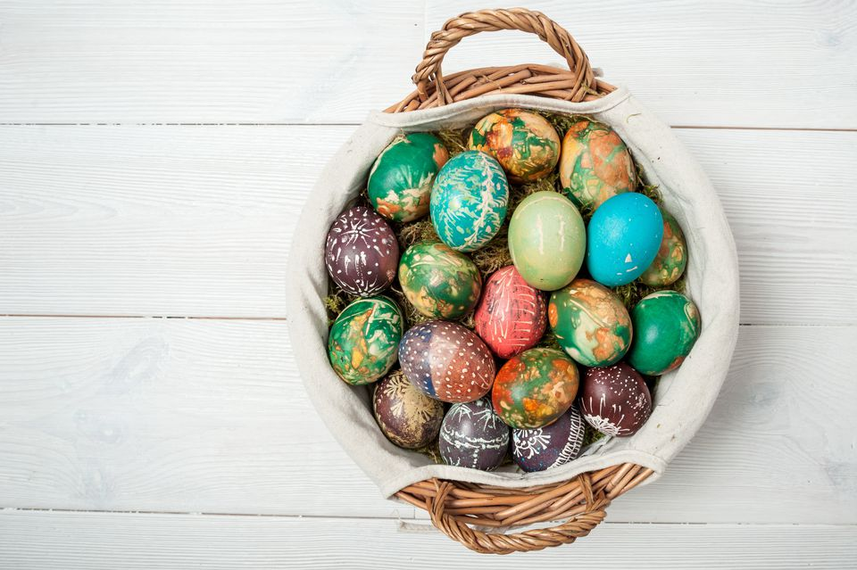 A set of decorated Easter eggs
