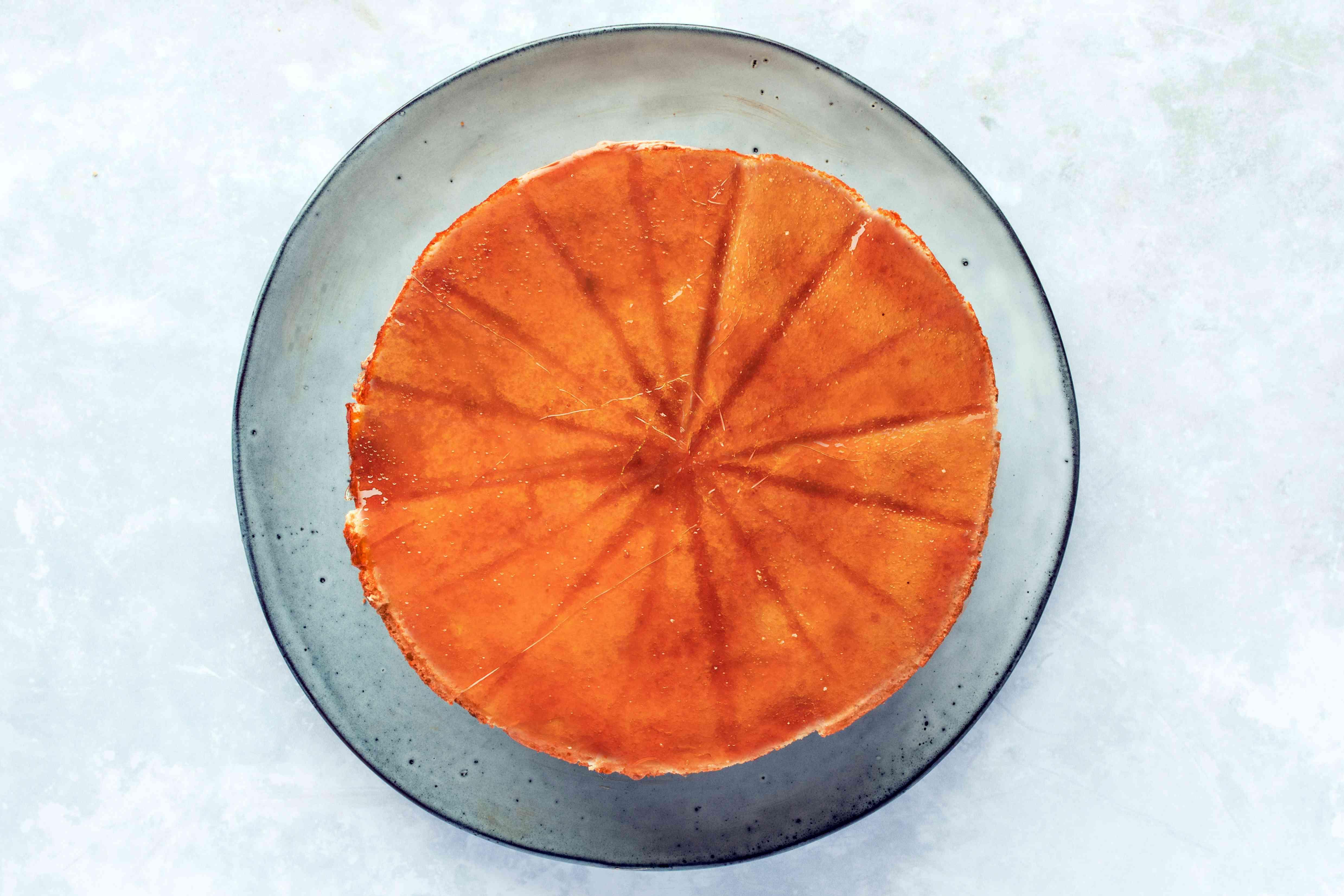 Assembled cake on a platter