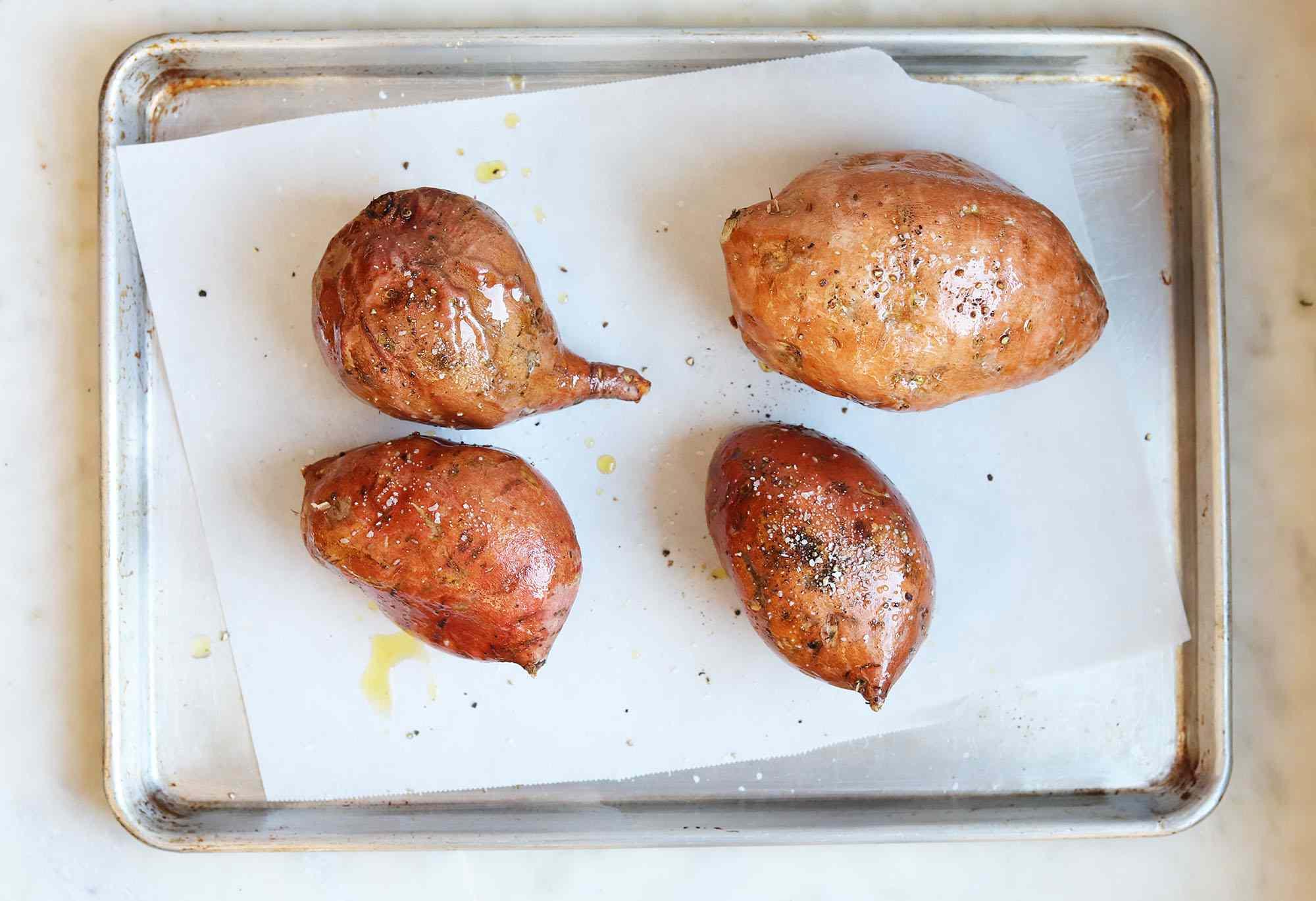 oiled sweet potatoes