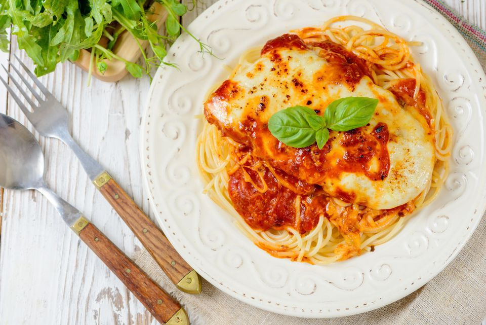 Easy chicken Parm with spaghetti.