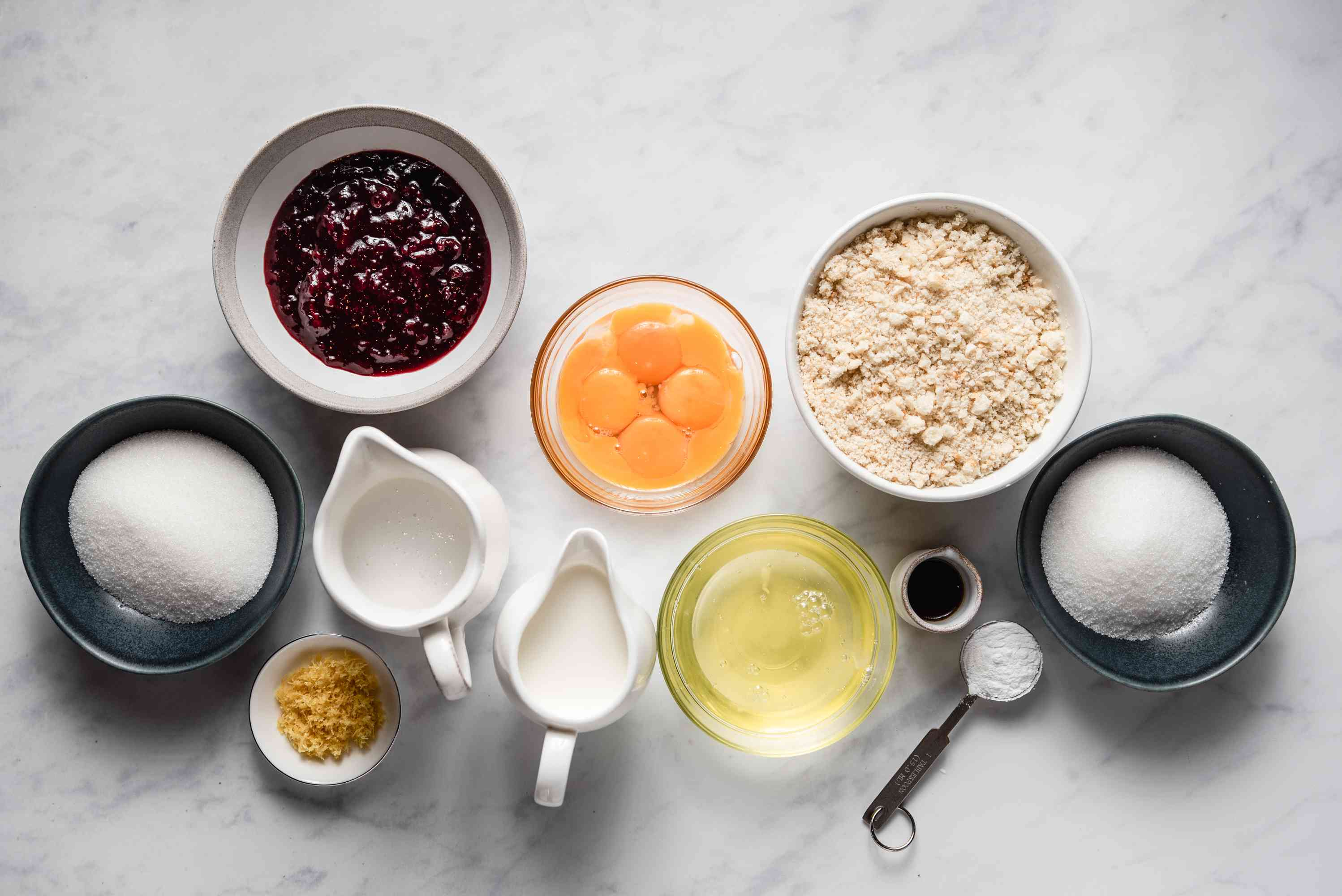 Ingredients for a traditional British queen of puddings