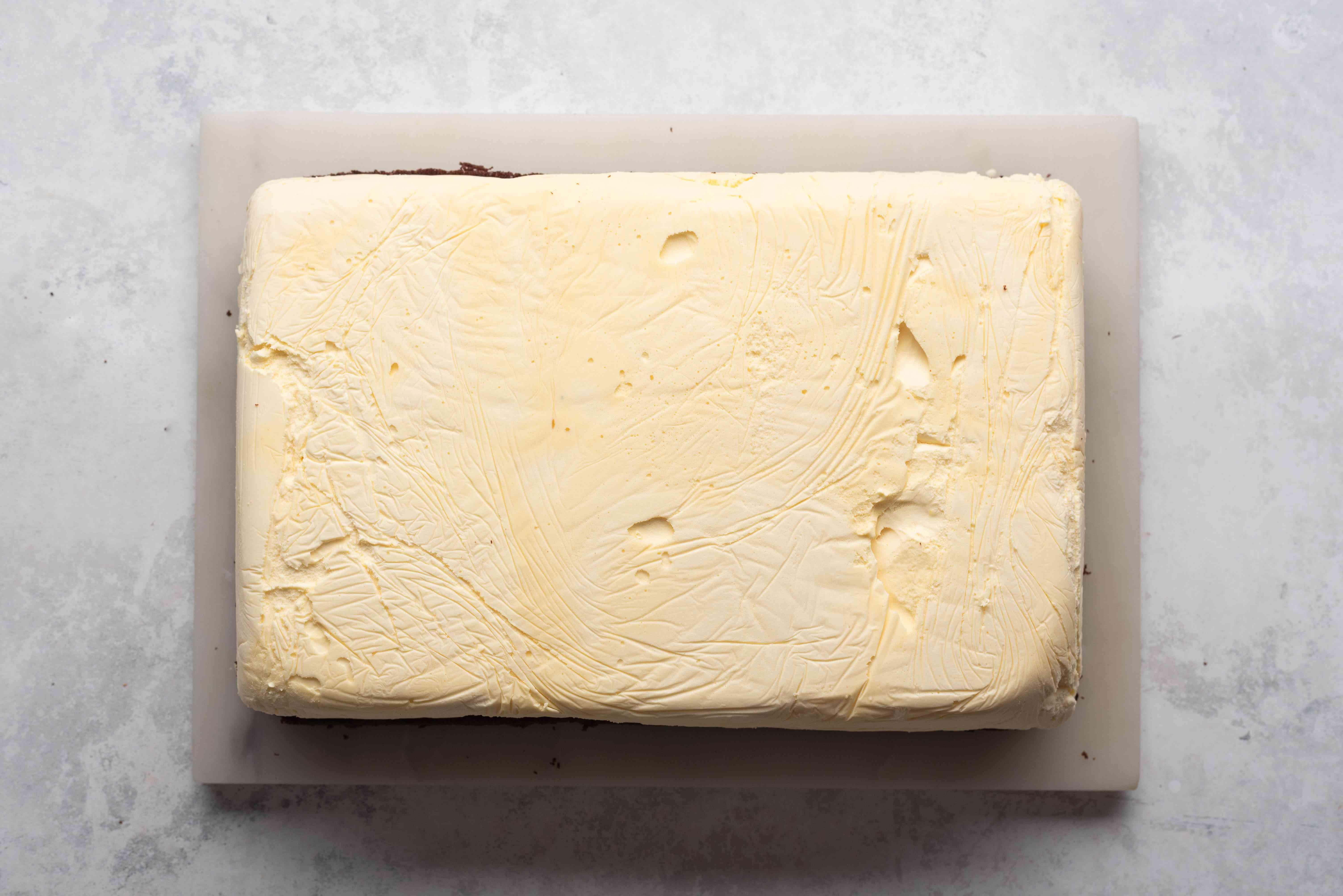ice cream on top of cake