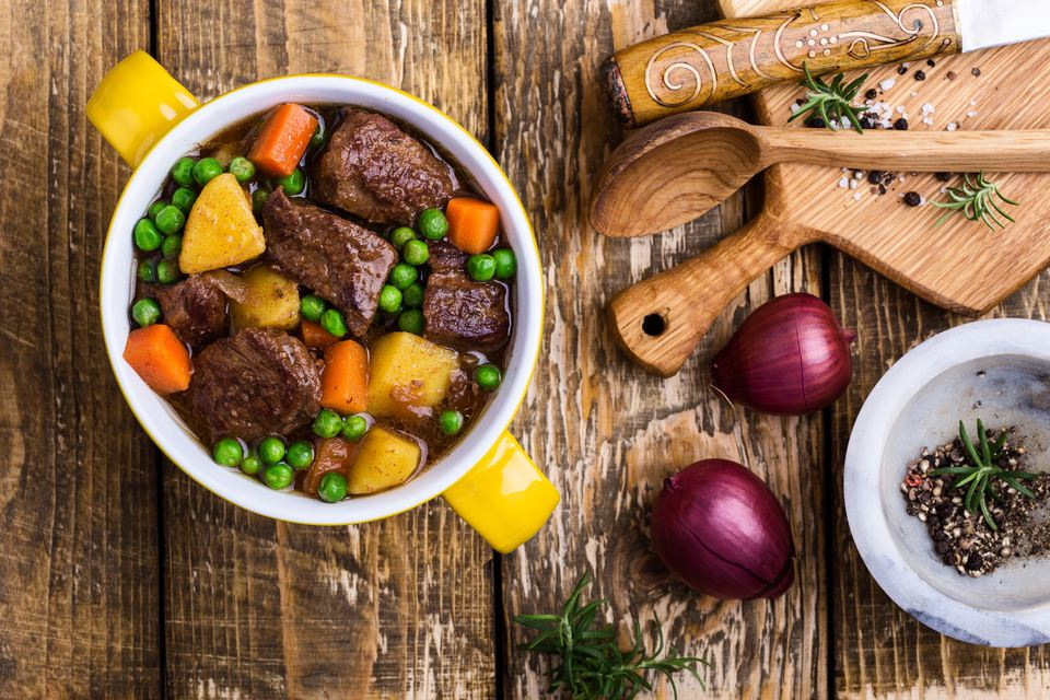 Traditional British Dishes. Beef and vegetable stew