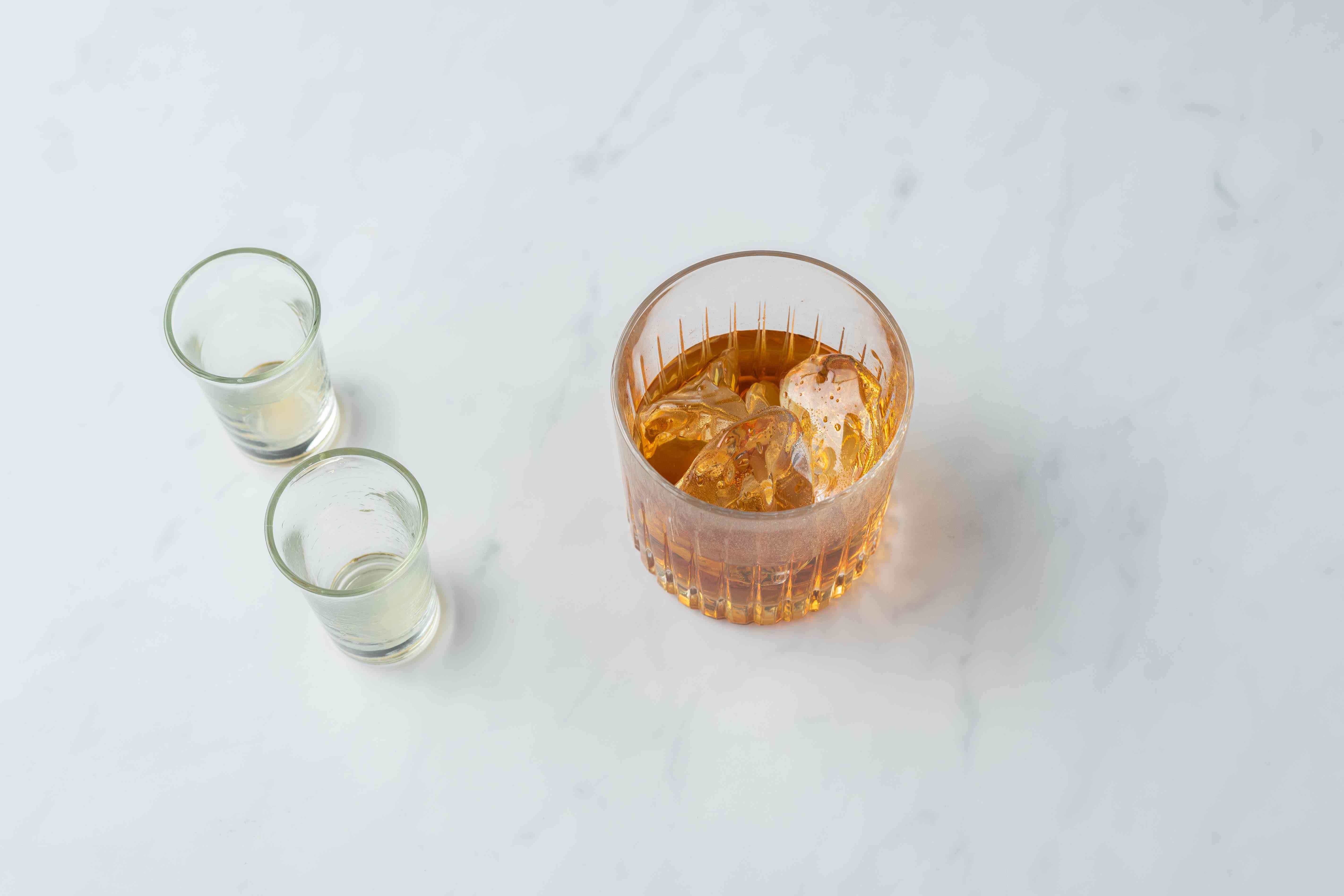 cognac and amaretto liqueur in a glass