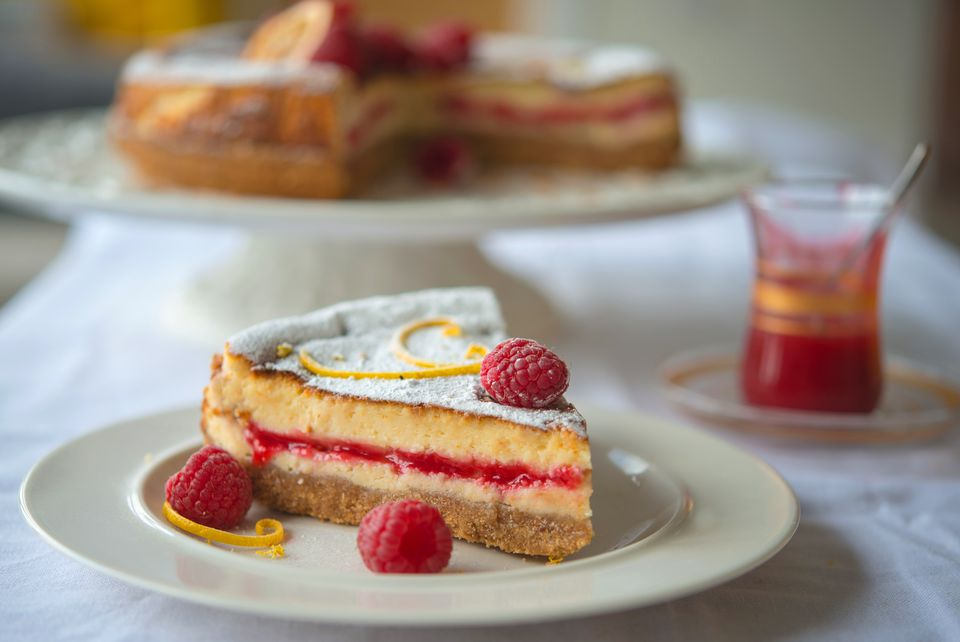 Lemon Raspberry Baked Cheesecake
