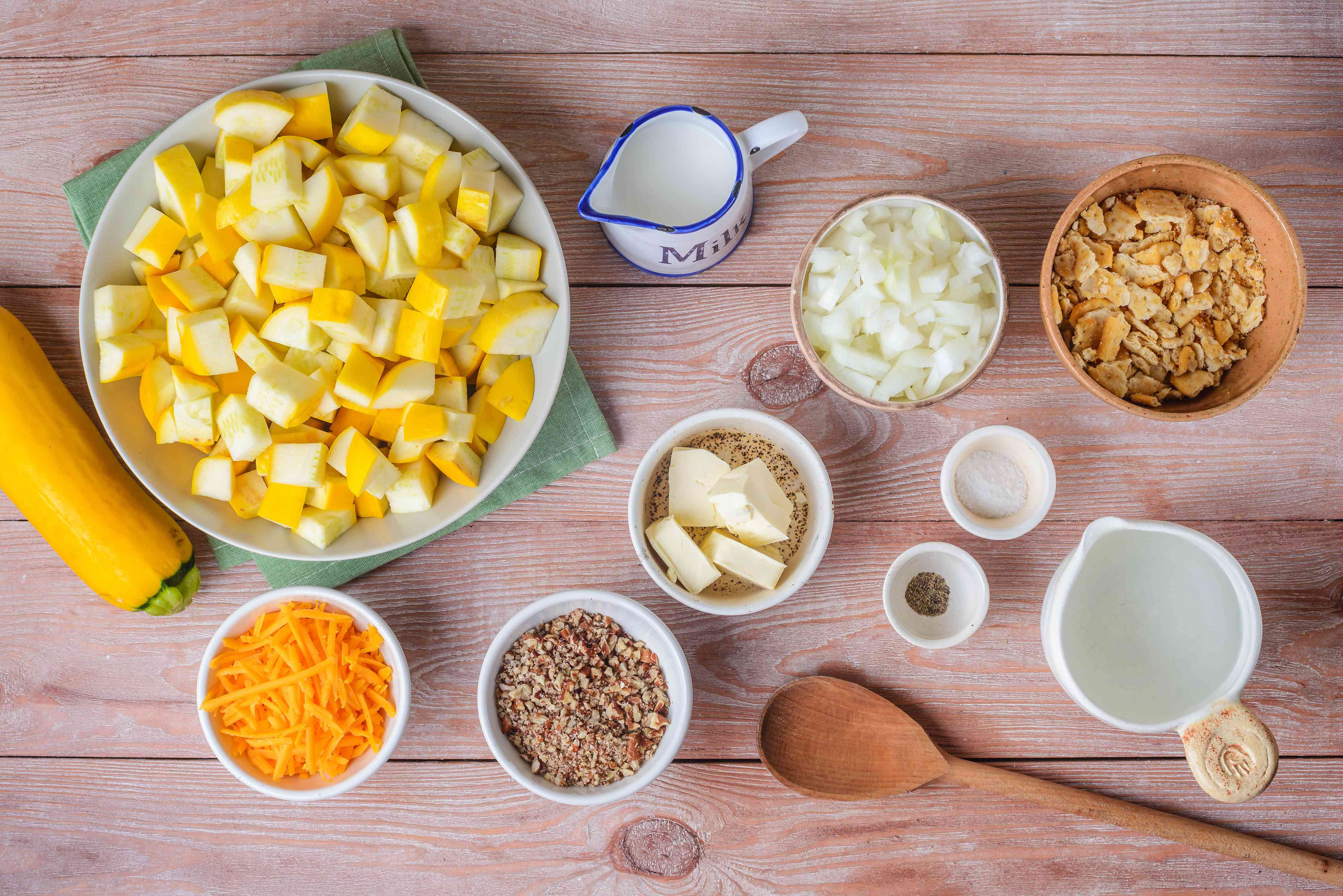 Ingredients for basic squash casserole with cheese
