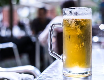 Close-up of Lemon Beer in Barcelona, Spain