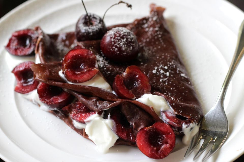 Chocolate cherry crepes