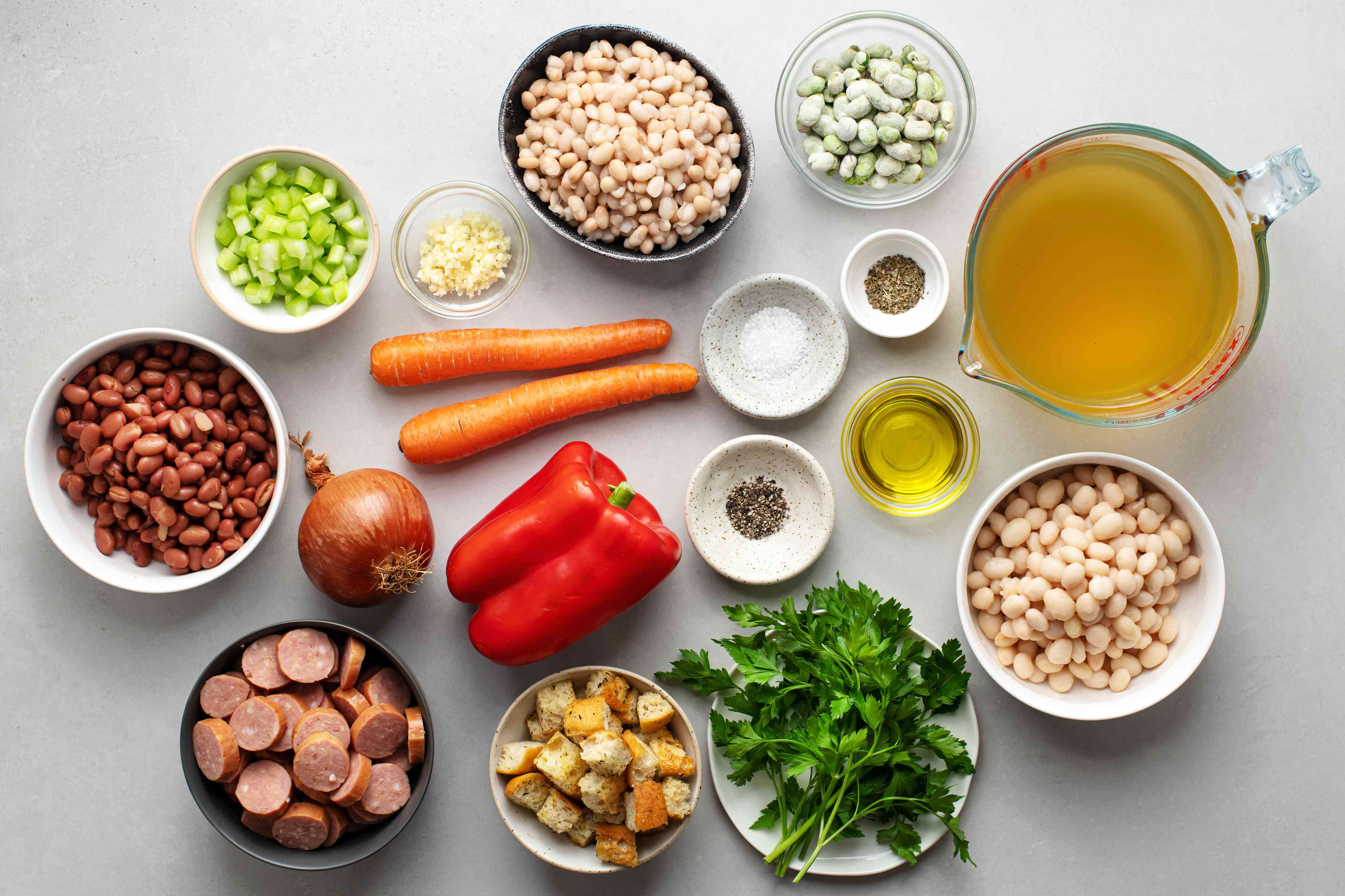 Quick and Easy Bean Soup With Sausage ingredients