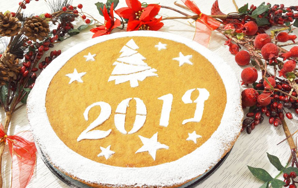 Greek 2018 vasilopita cake with coin inside