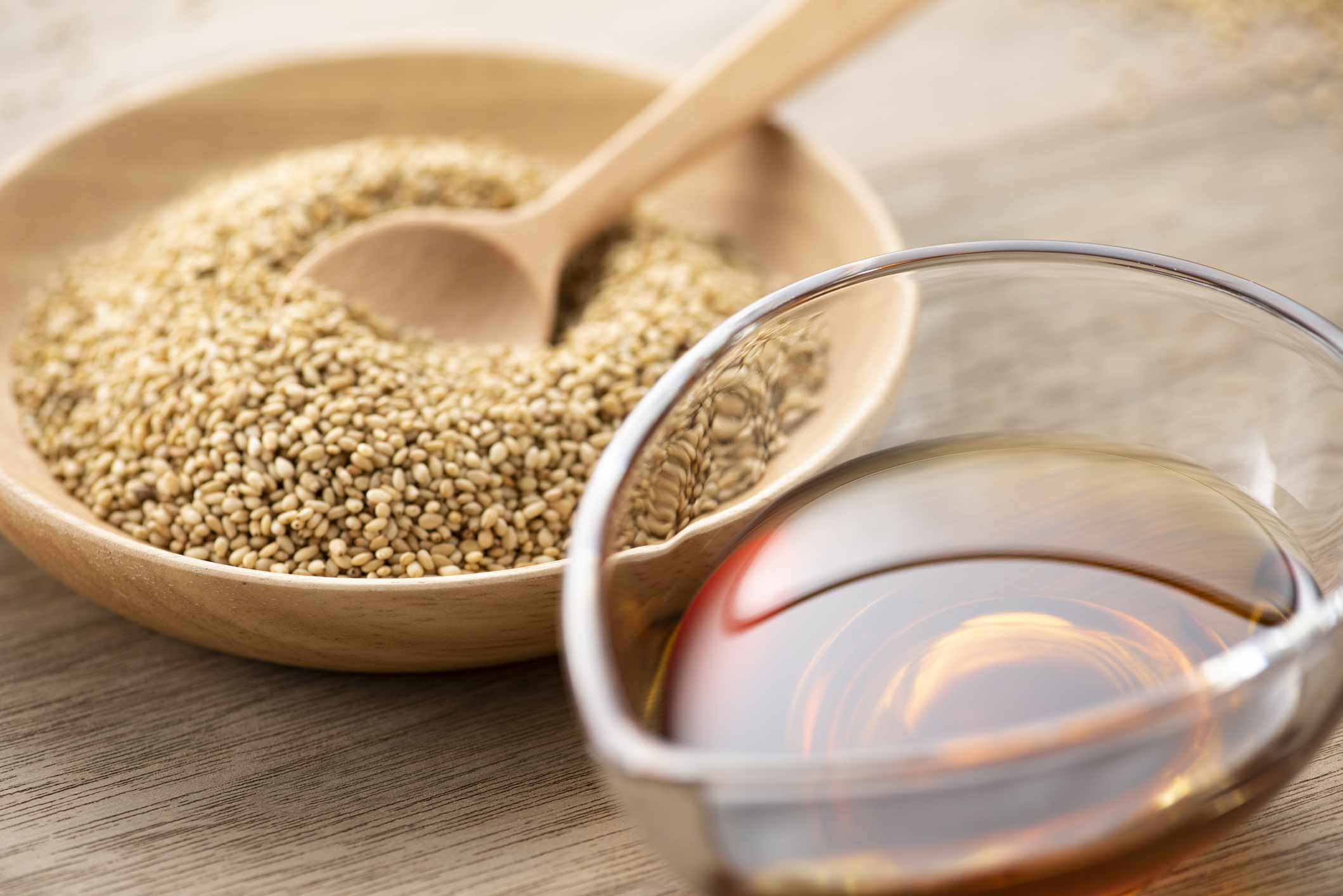 Roasted sesame seeds and sesame oil