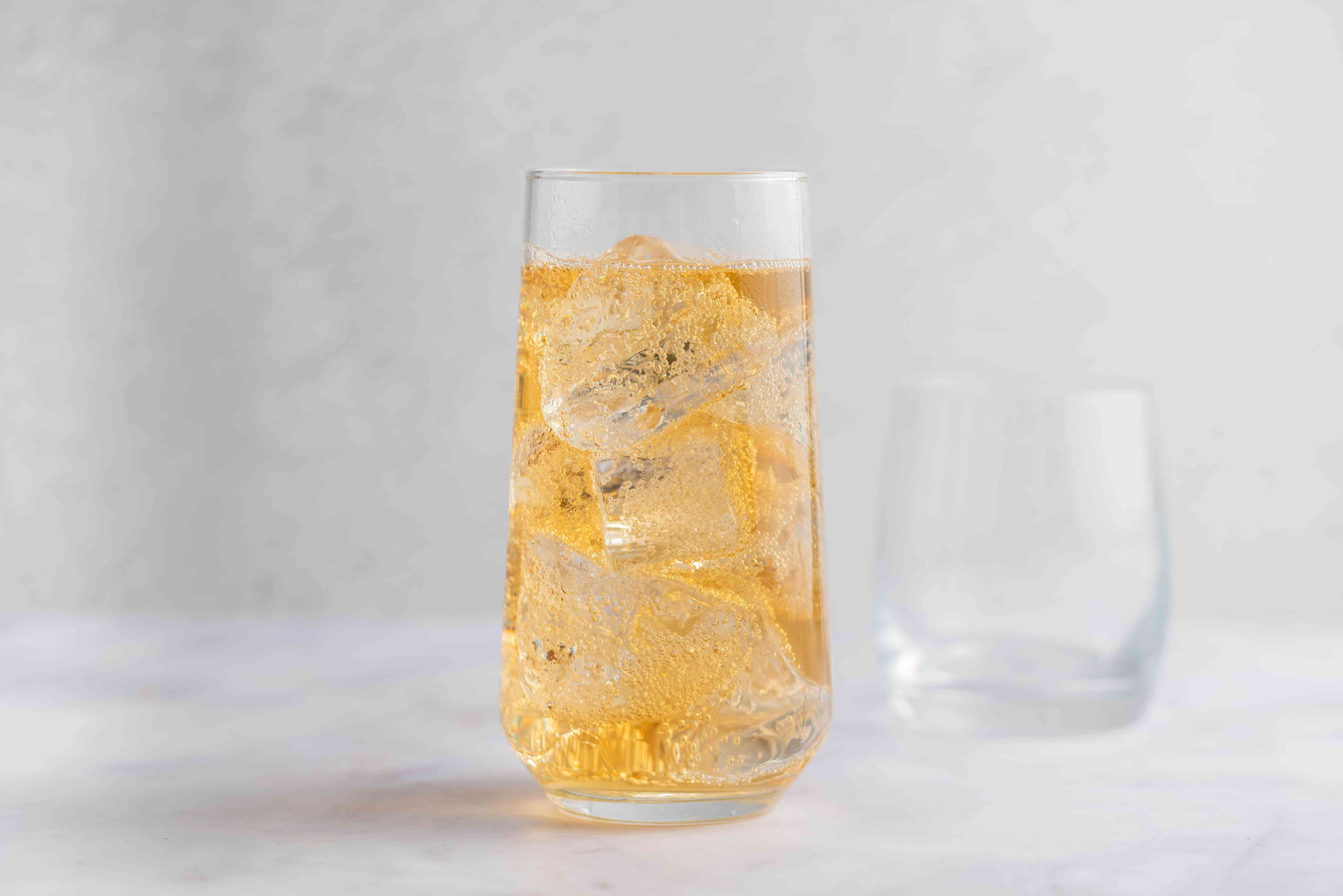 Fill glass with ginger ale