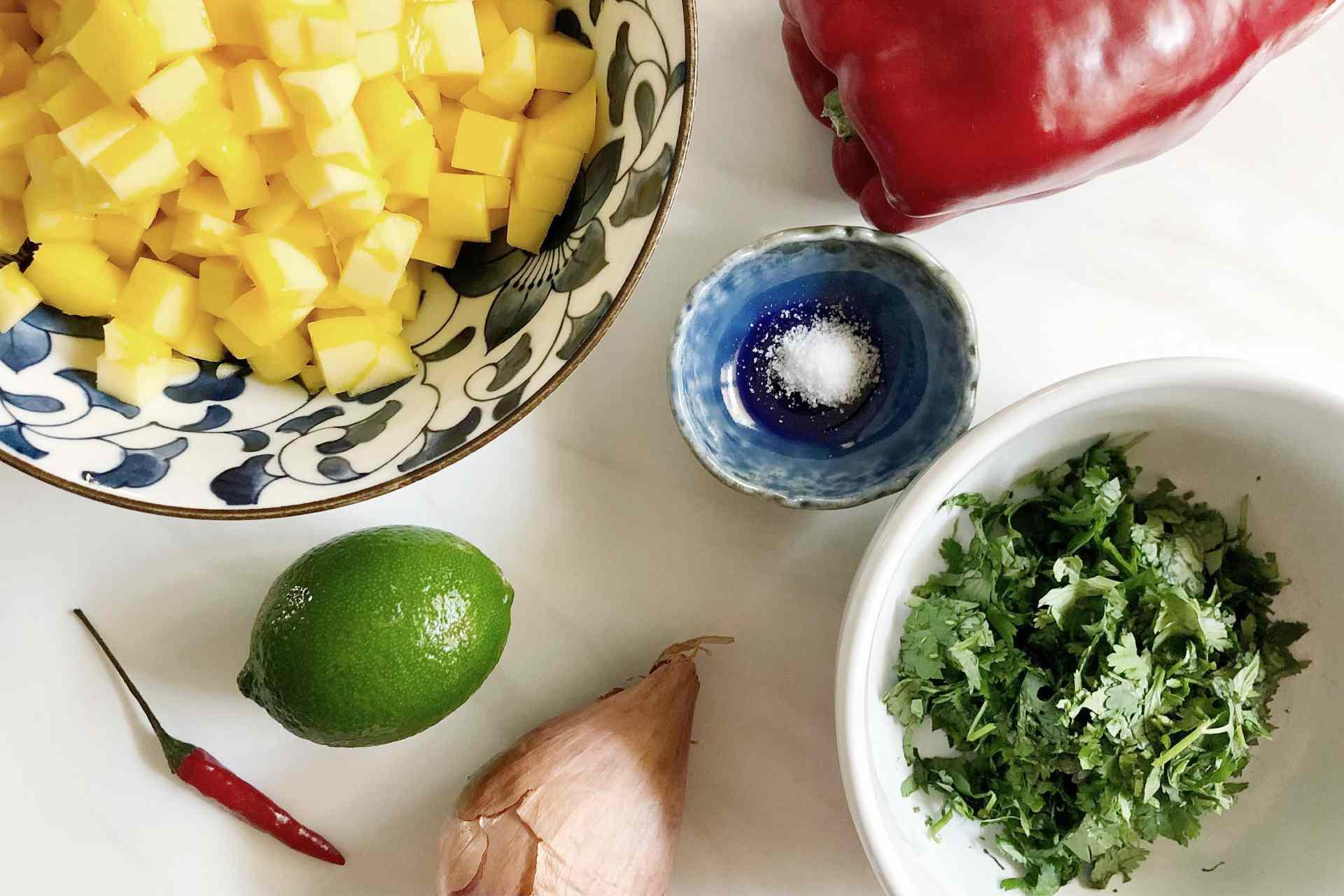 Ingredients for mango salsa to go with turkey lettuce wraps