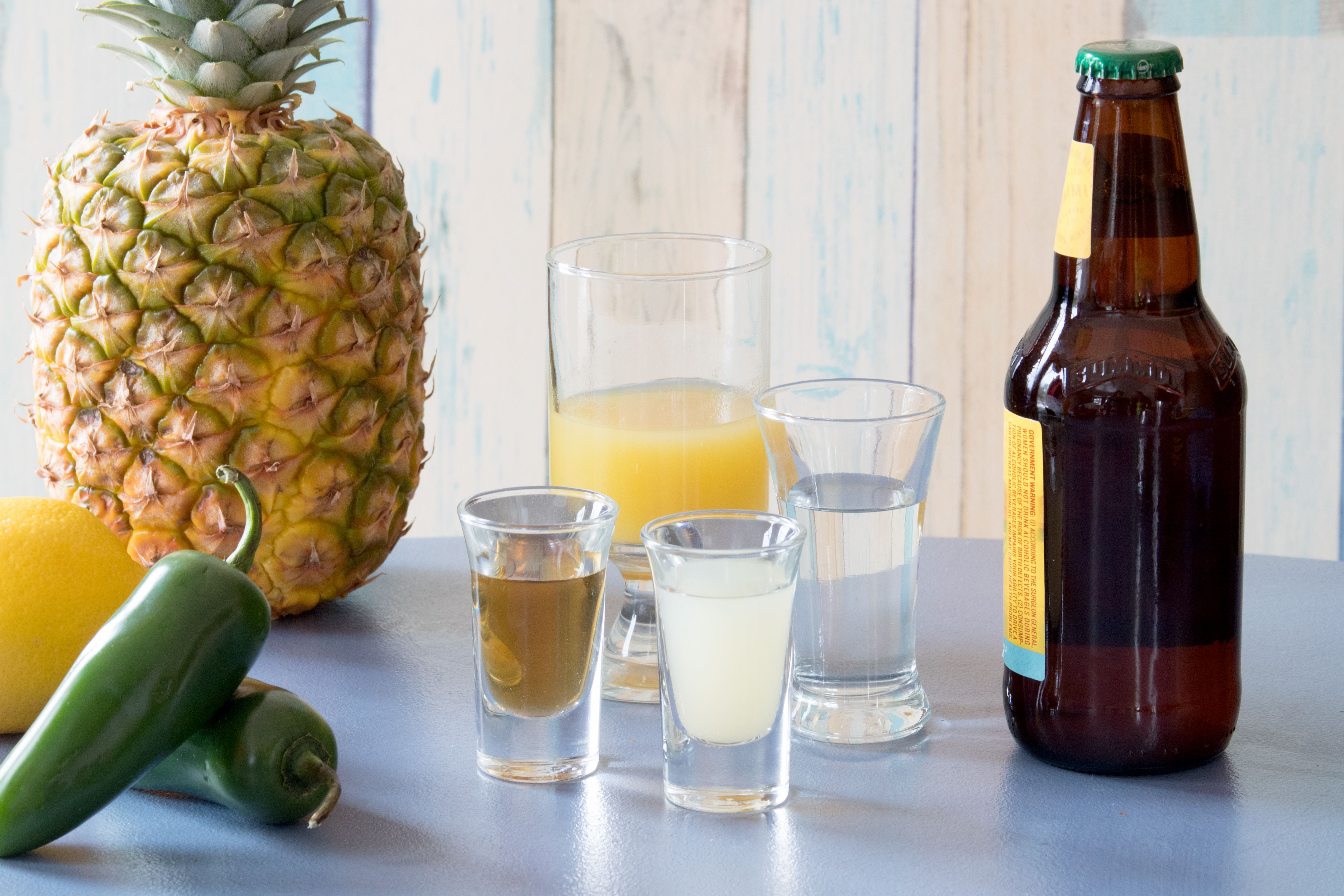 Ingredients for a Spicy Pineapple Shandy