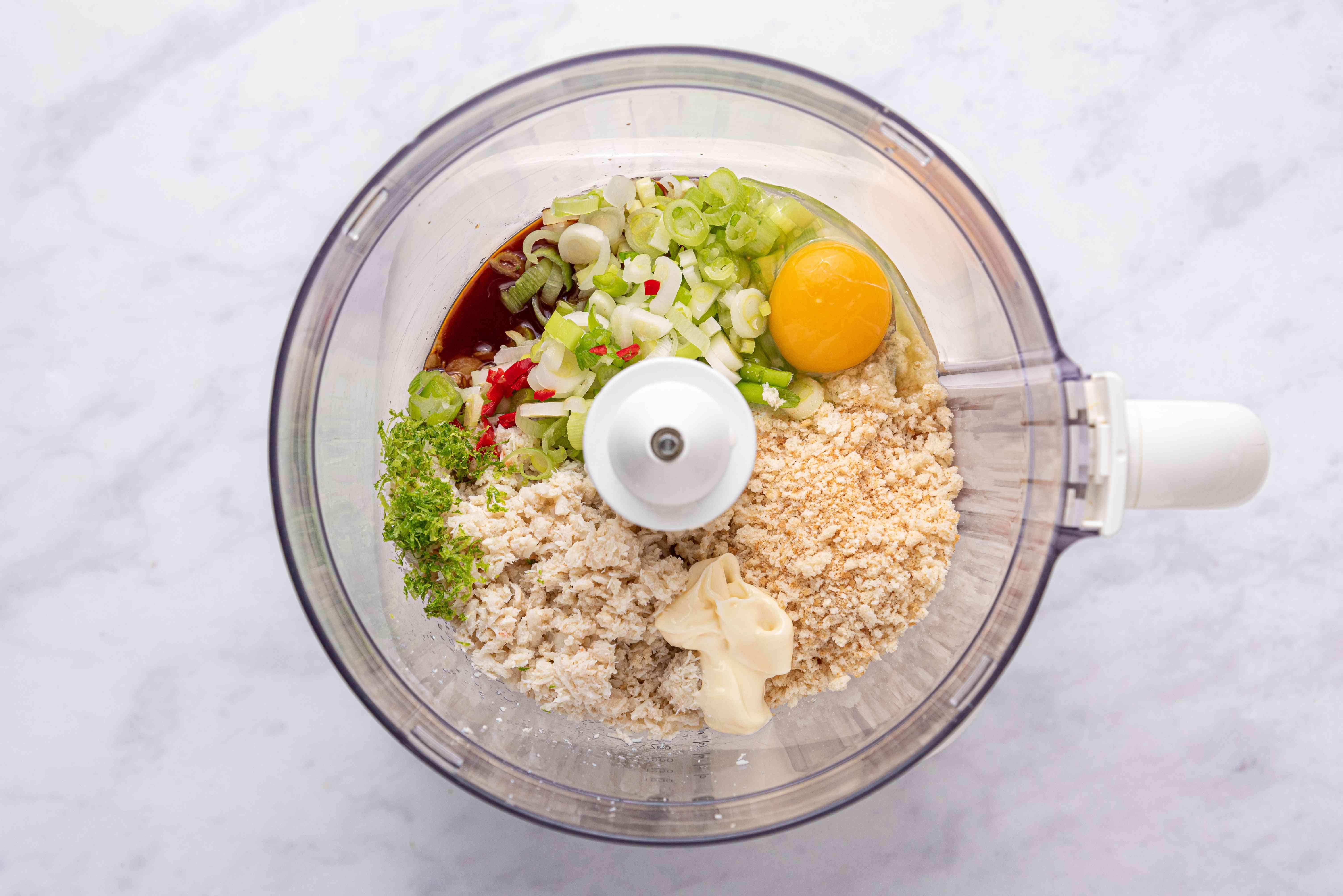 Thai Crab Cakes ingredients in a food processor
