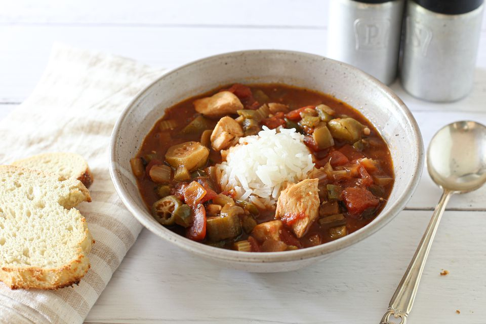 Chicken gumbo with rice.