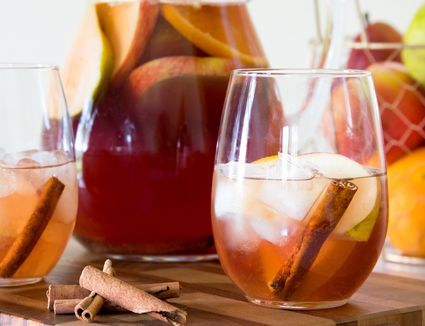 White Wine Fall Sangria With Pomegranate and Green Tea