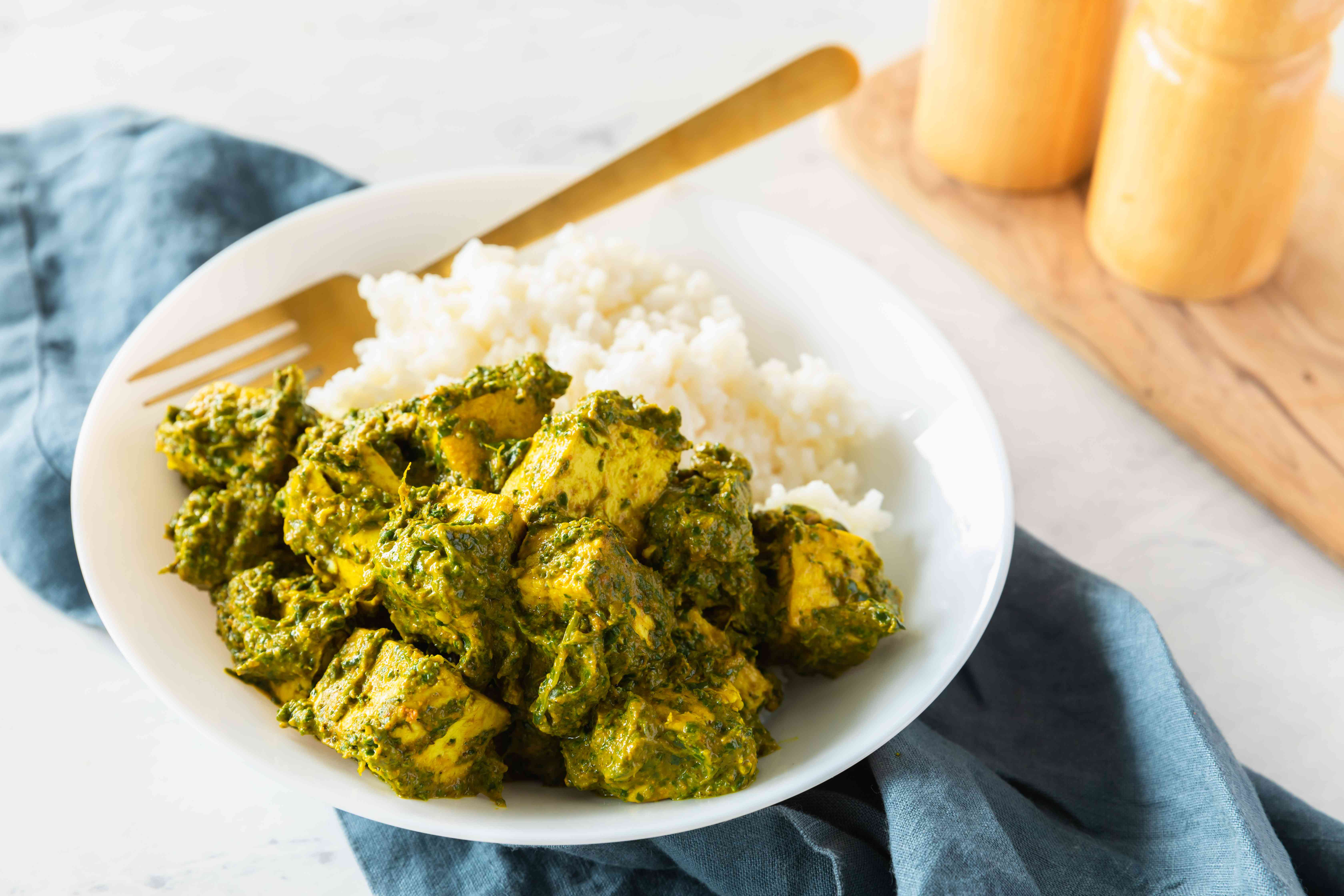 Indian palak paneer spinach and tofu recipe
