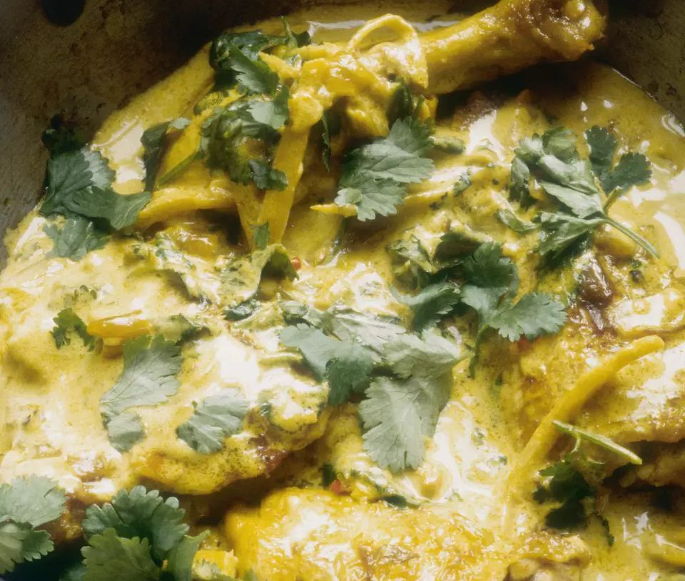 Poached Chicken Thighs in Coconut Curry