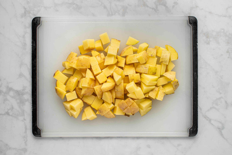 Diced potatoes on cutting board