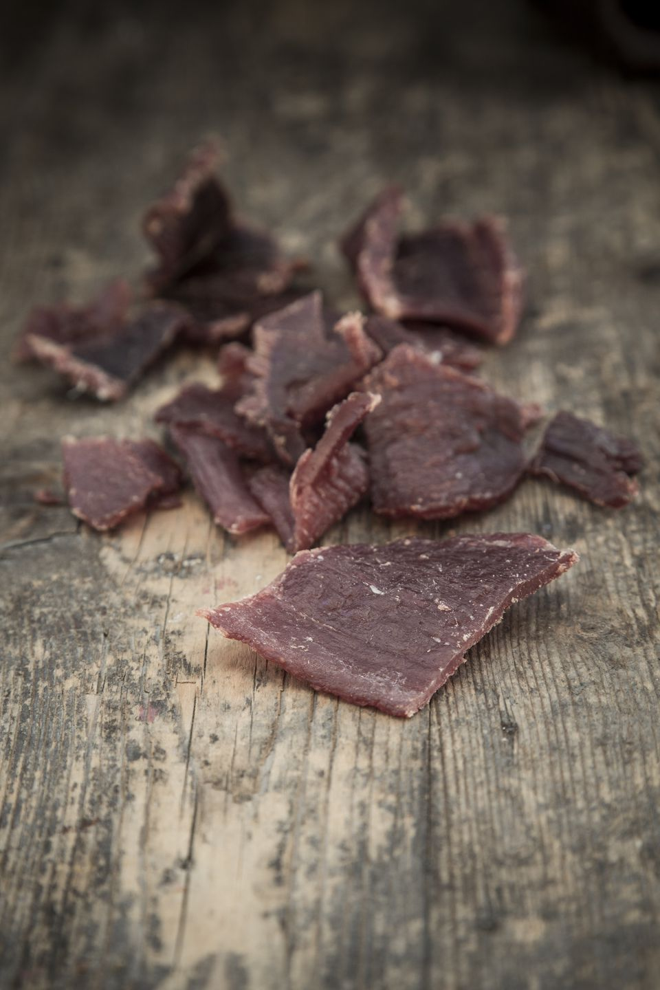 Beef jerky on wood