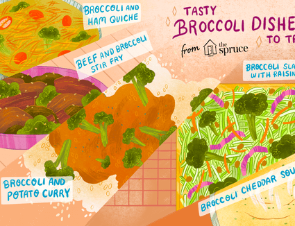 illustration featuring different broccoli dishes
