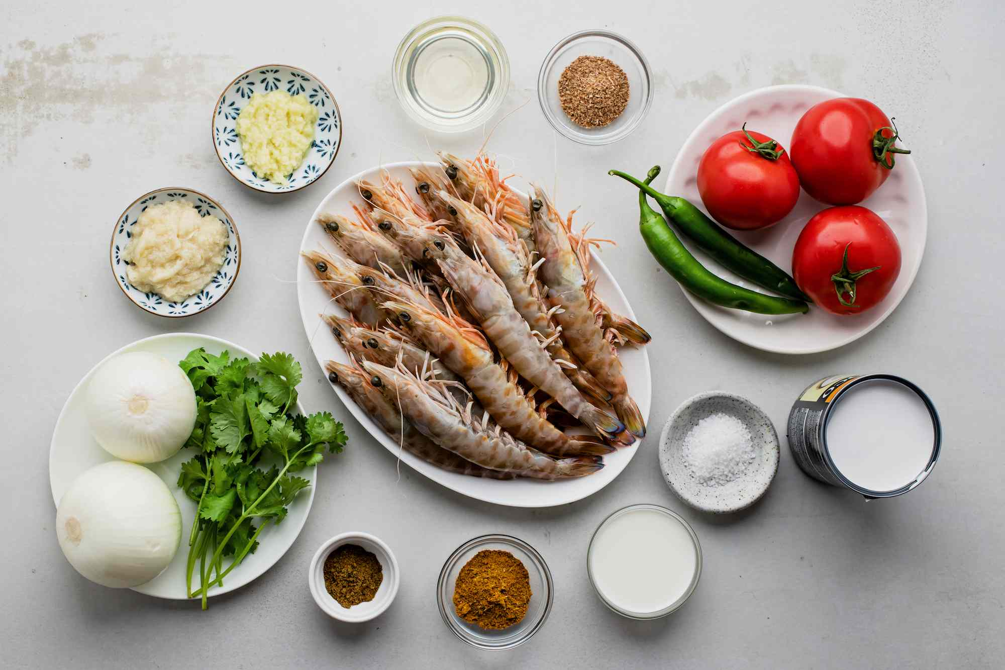 Ingredients for creamy prawn curry
