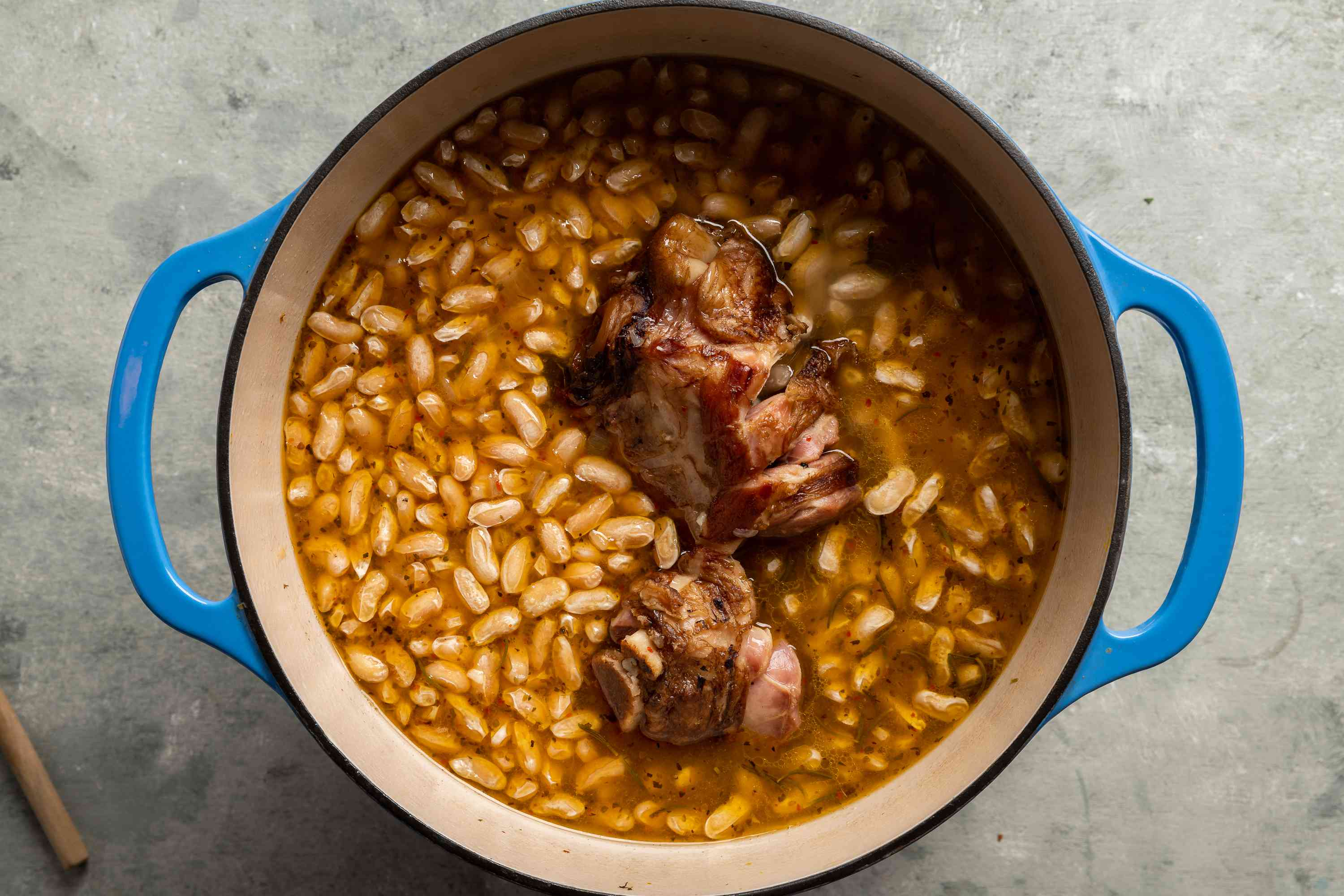 cook the bean and ham shank mixture in the Dutch oven