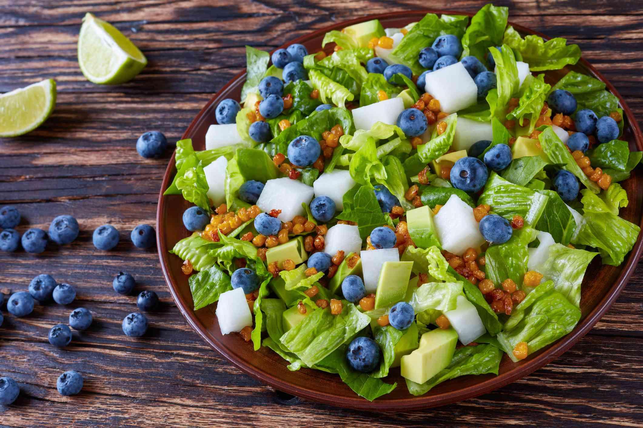 Salad with romaine, jicama, avocado and blueberries