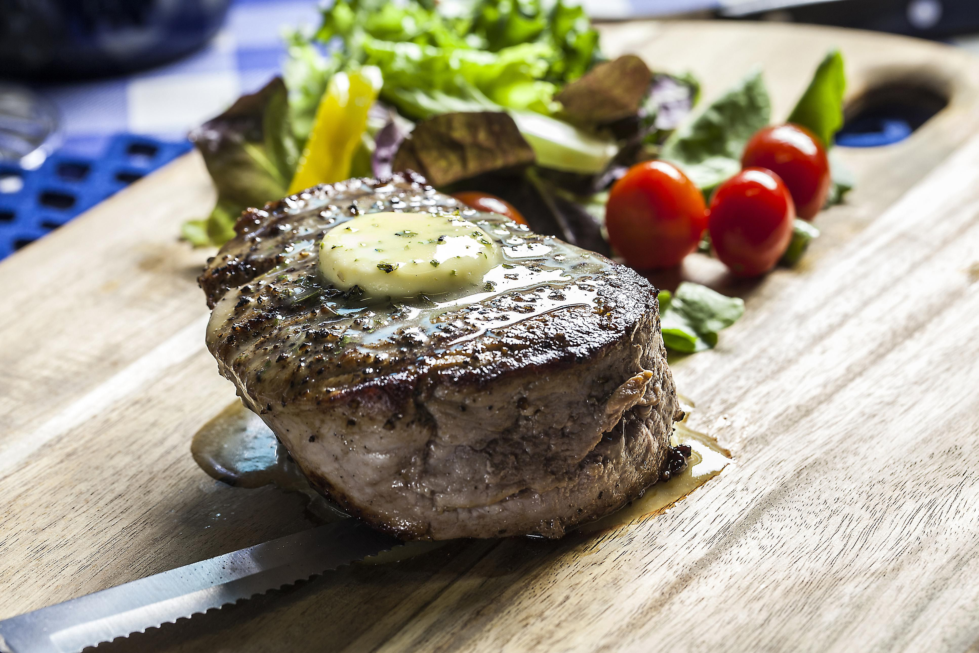 Filet Mignon with Peppercorn-Thyme Butter