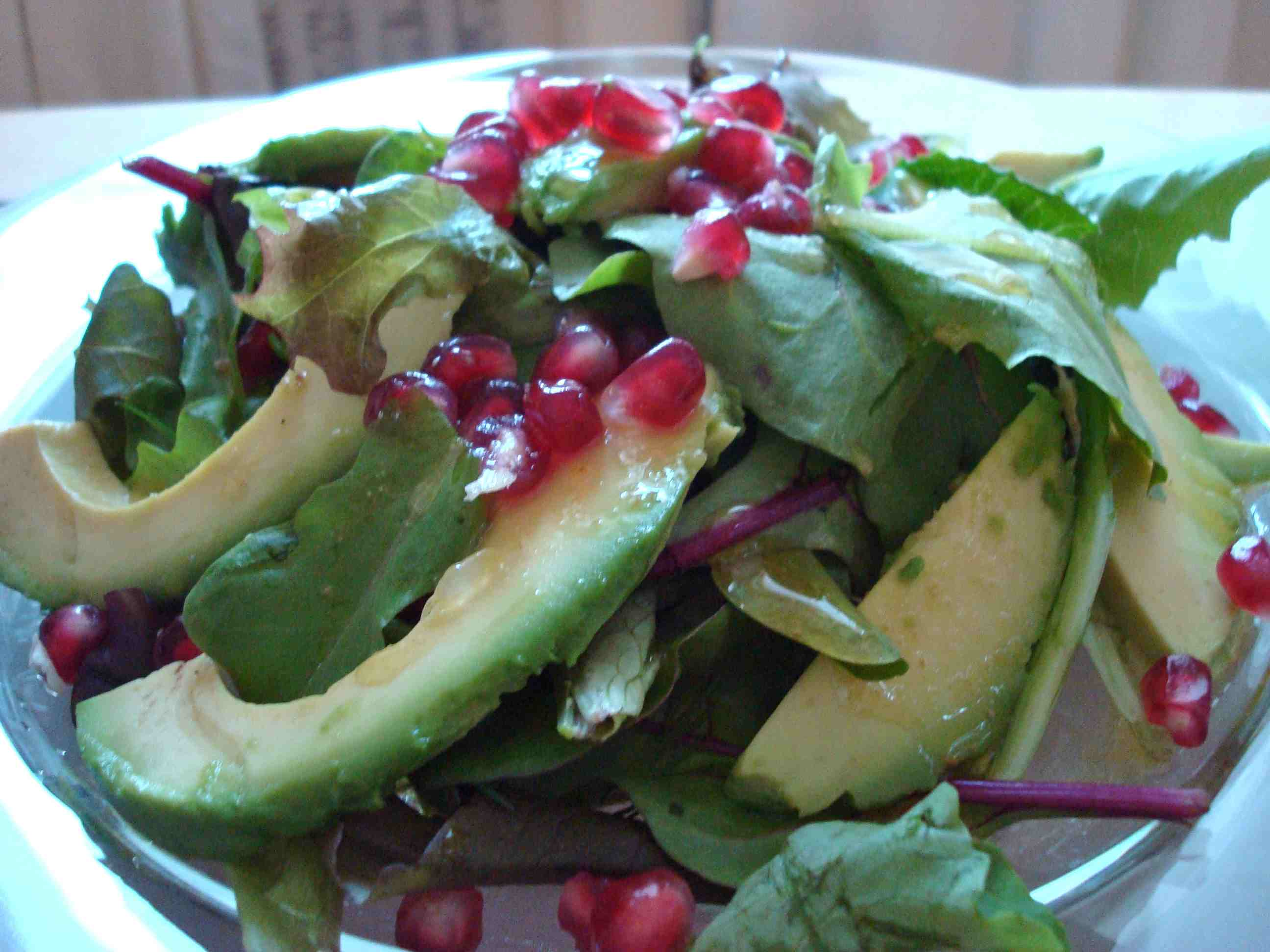 Avocado and Pomegranate Salad with Cumin Lime Vinaigrette