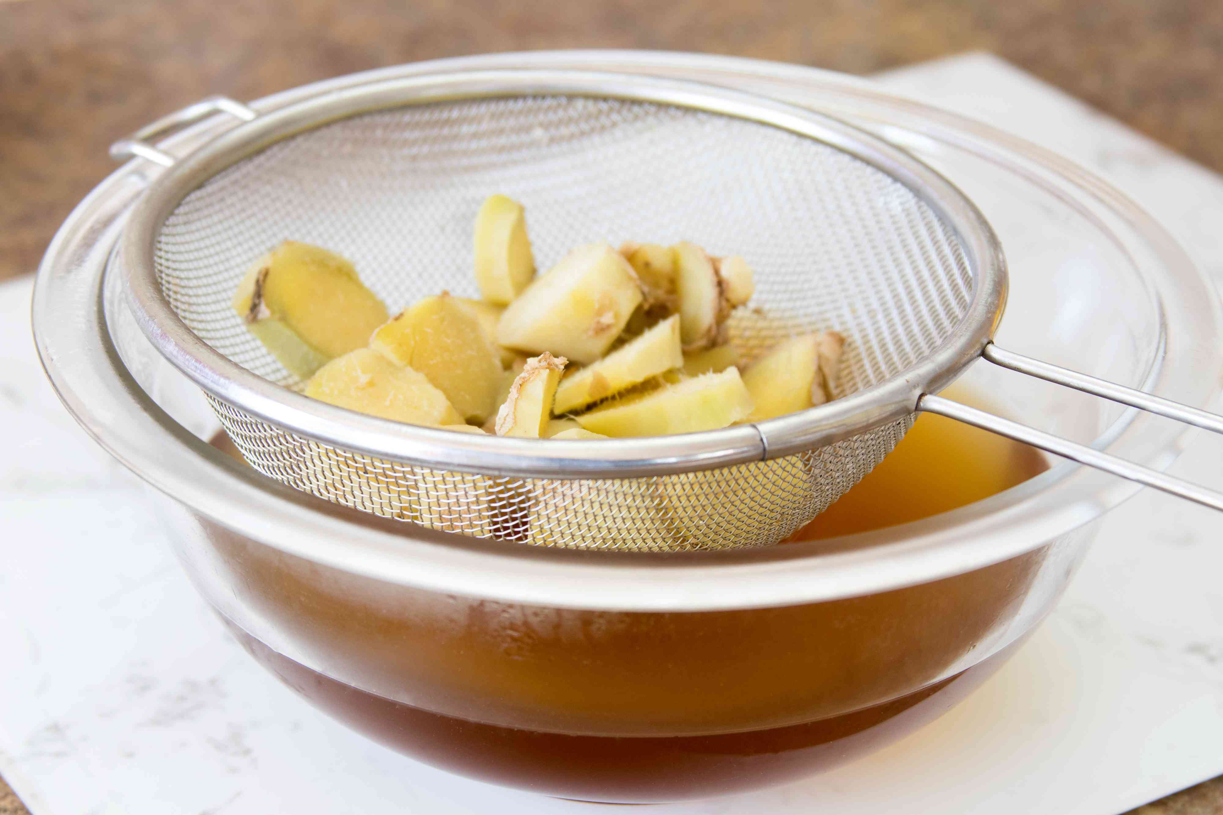 Straining Ginger From Fresh Syrup