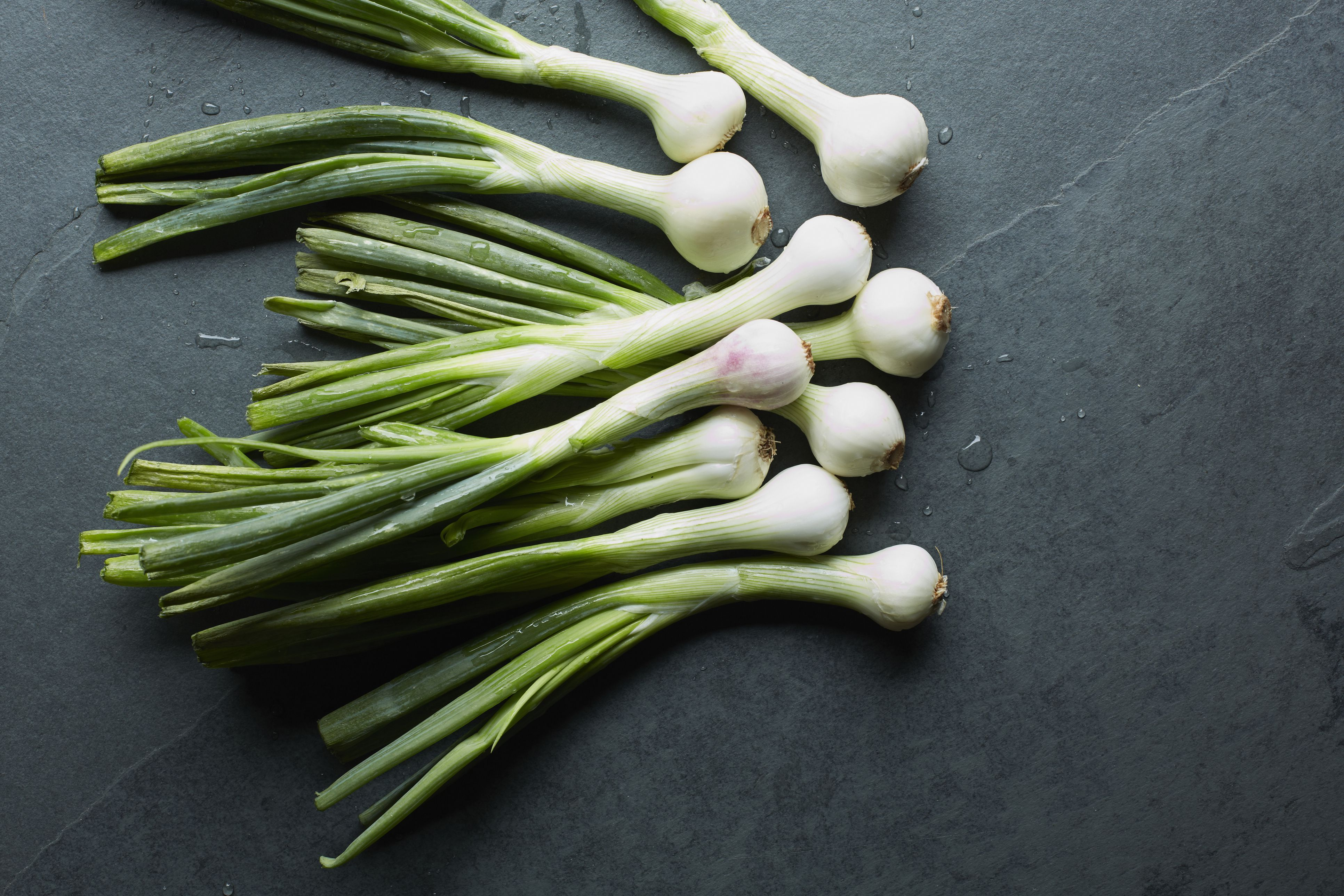 Overhead view of fresh whole spring onions on table