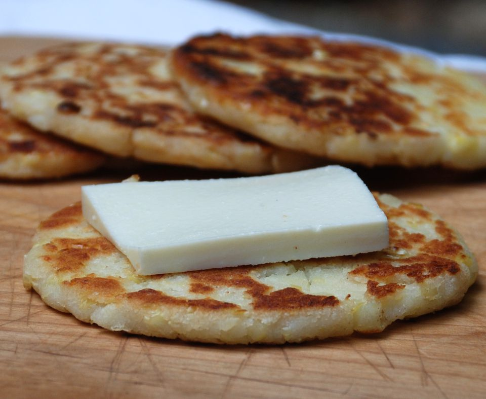 Sweet corn cakes with cheese - arepas de choclo