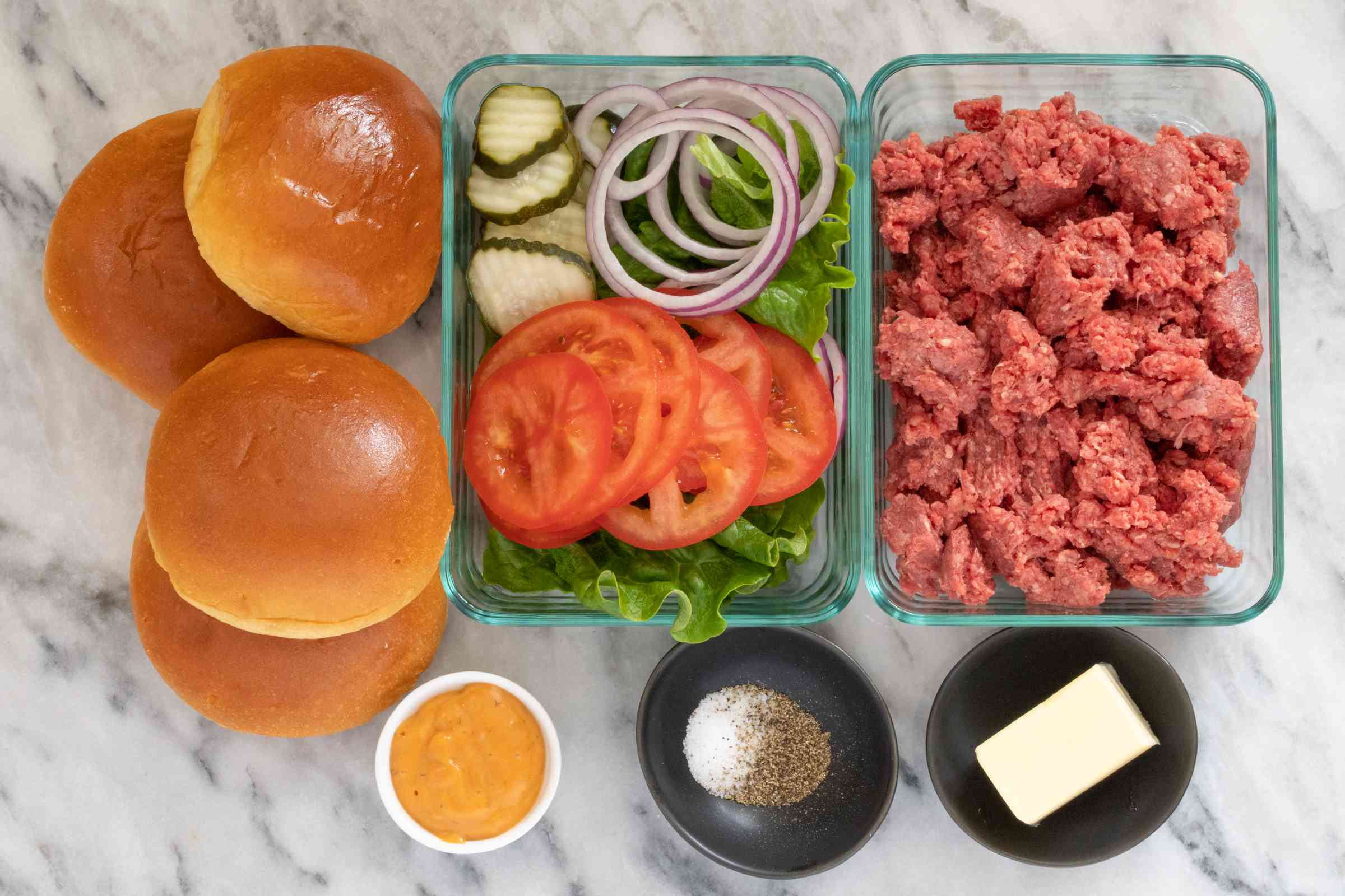 Ingredients for bison burgers plus optional toppings.