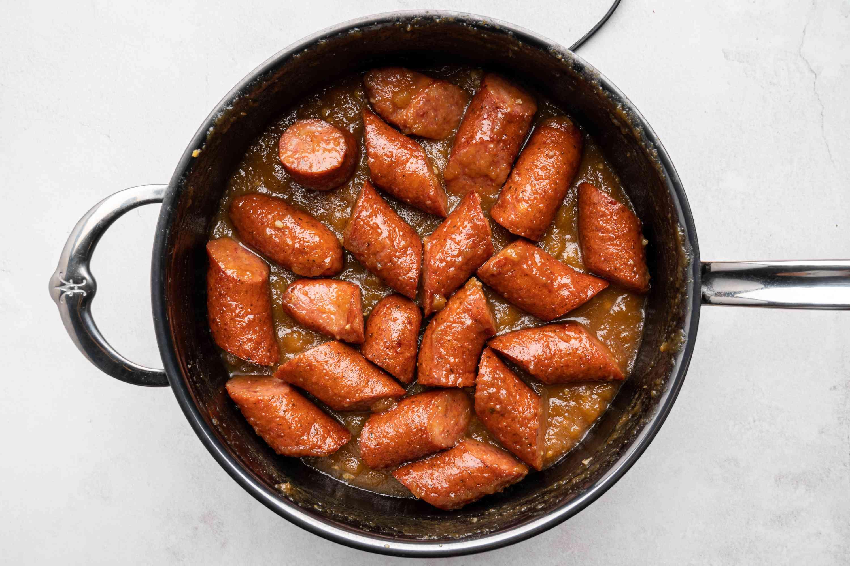 Stovetop Apple Kielbasa in a saucepan