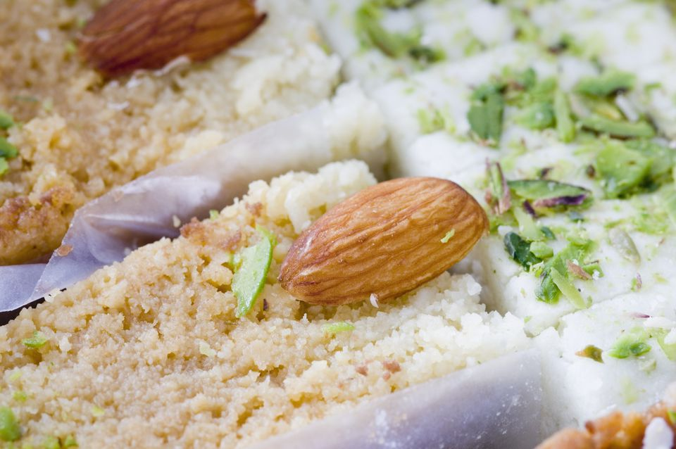Milk Barfi with pistachios and almonds as a garnish