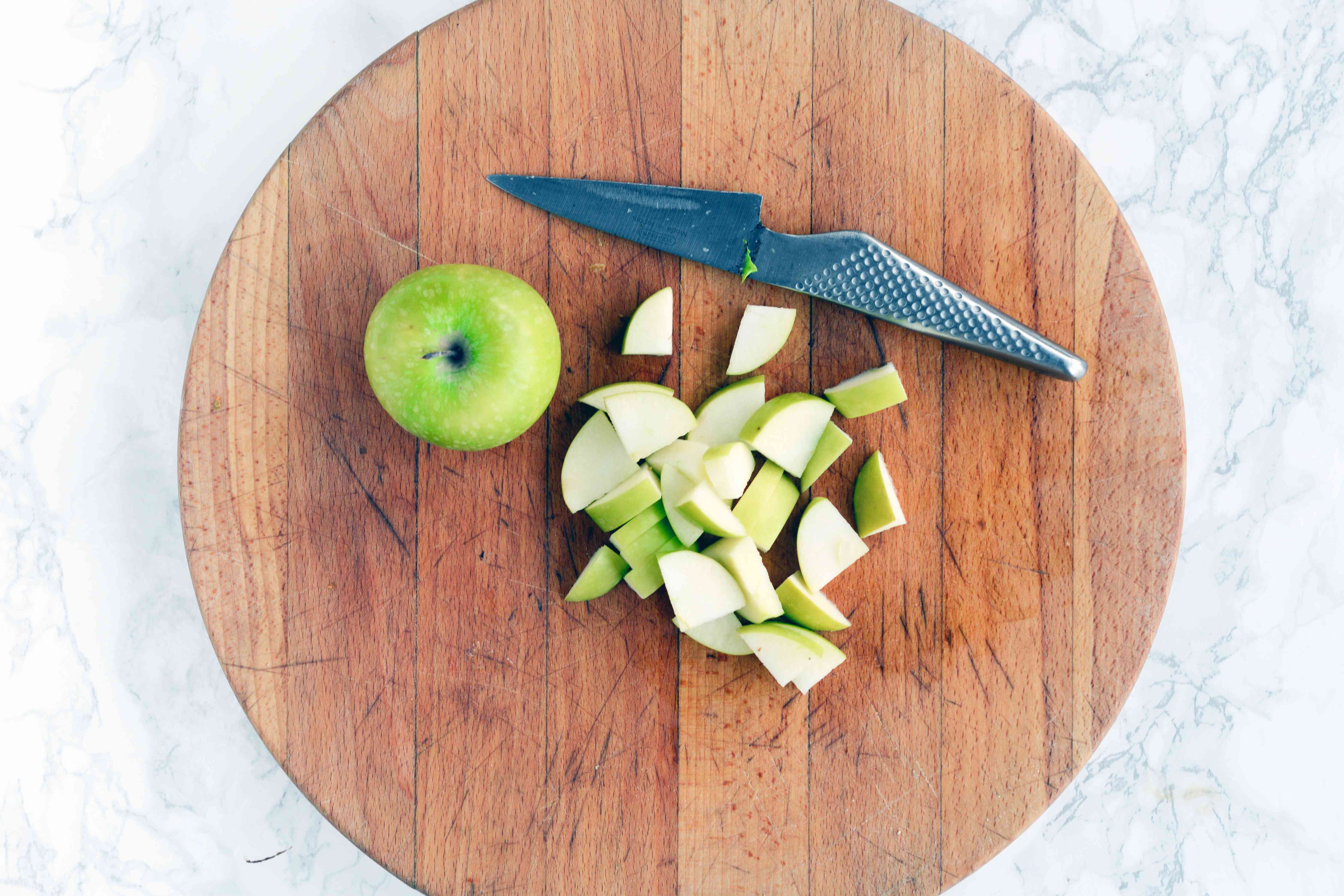 Chopped apples for apple walnut salad