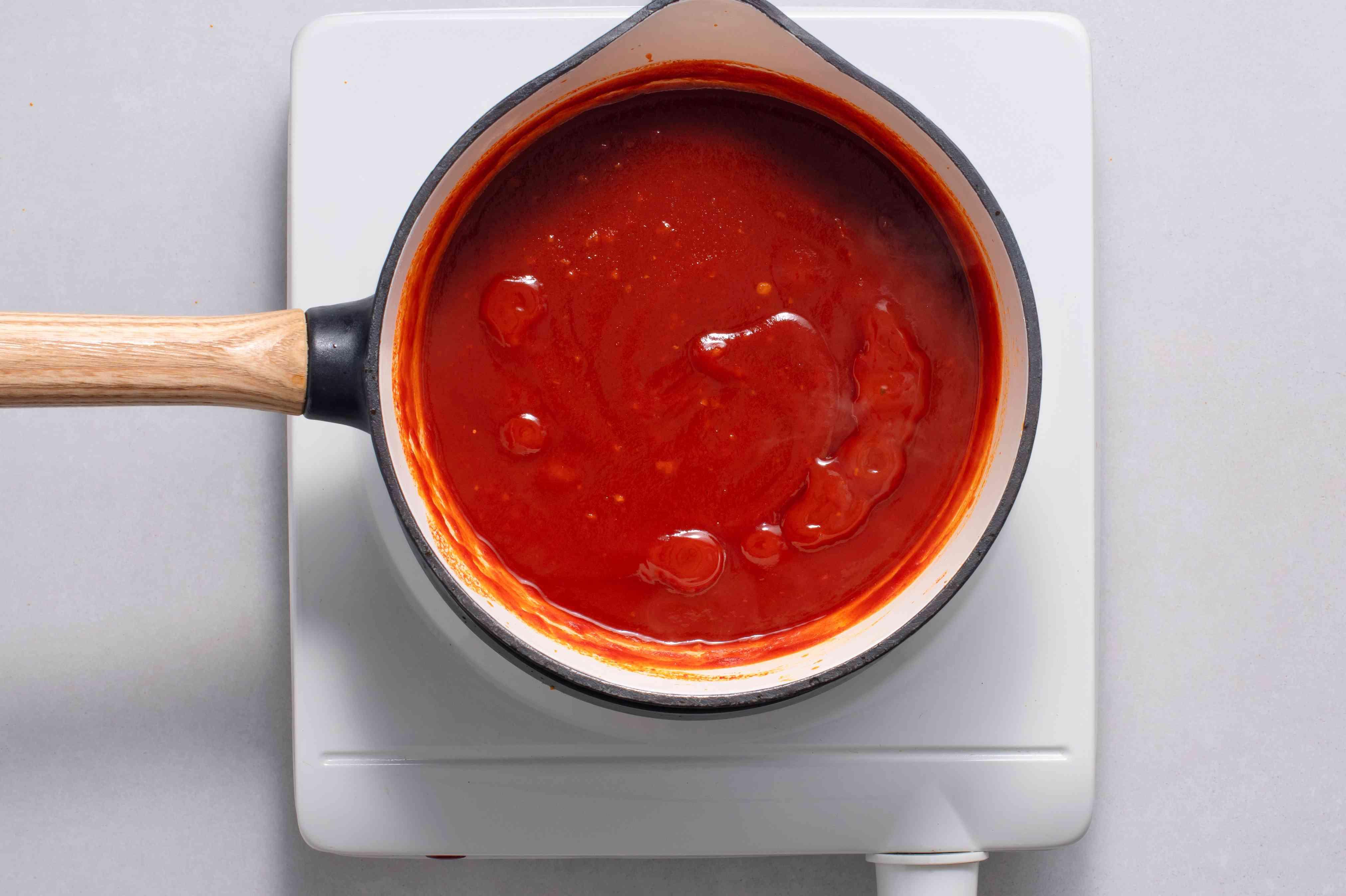 Kansas City Rib Sauce ingredients in a saucepan