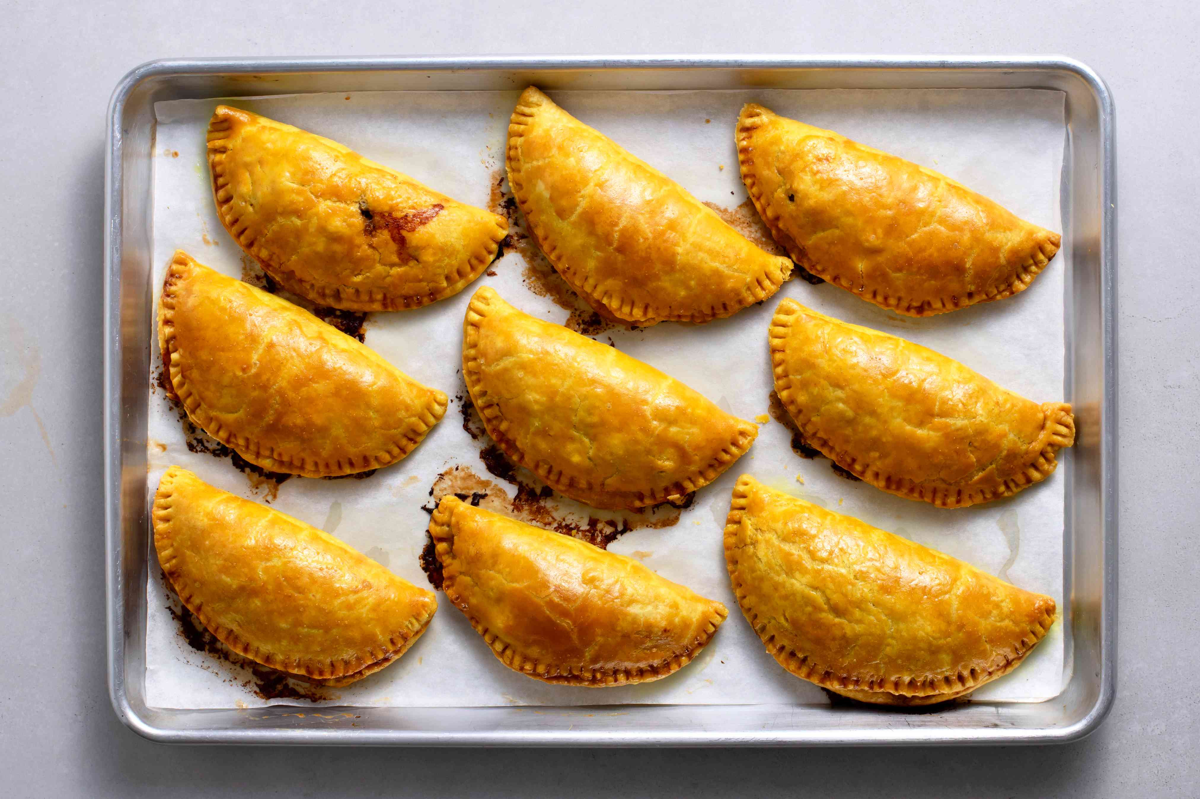 baked Jamaican Beef Patties on a baking sheet