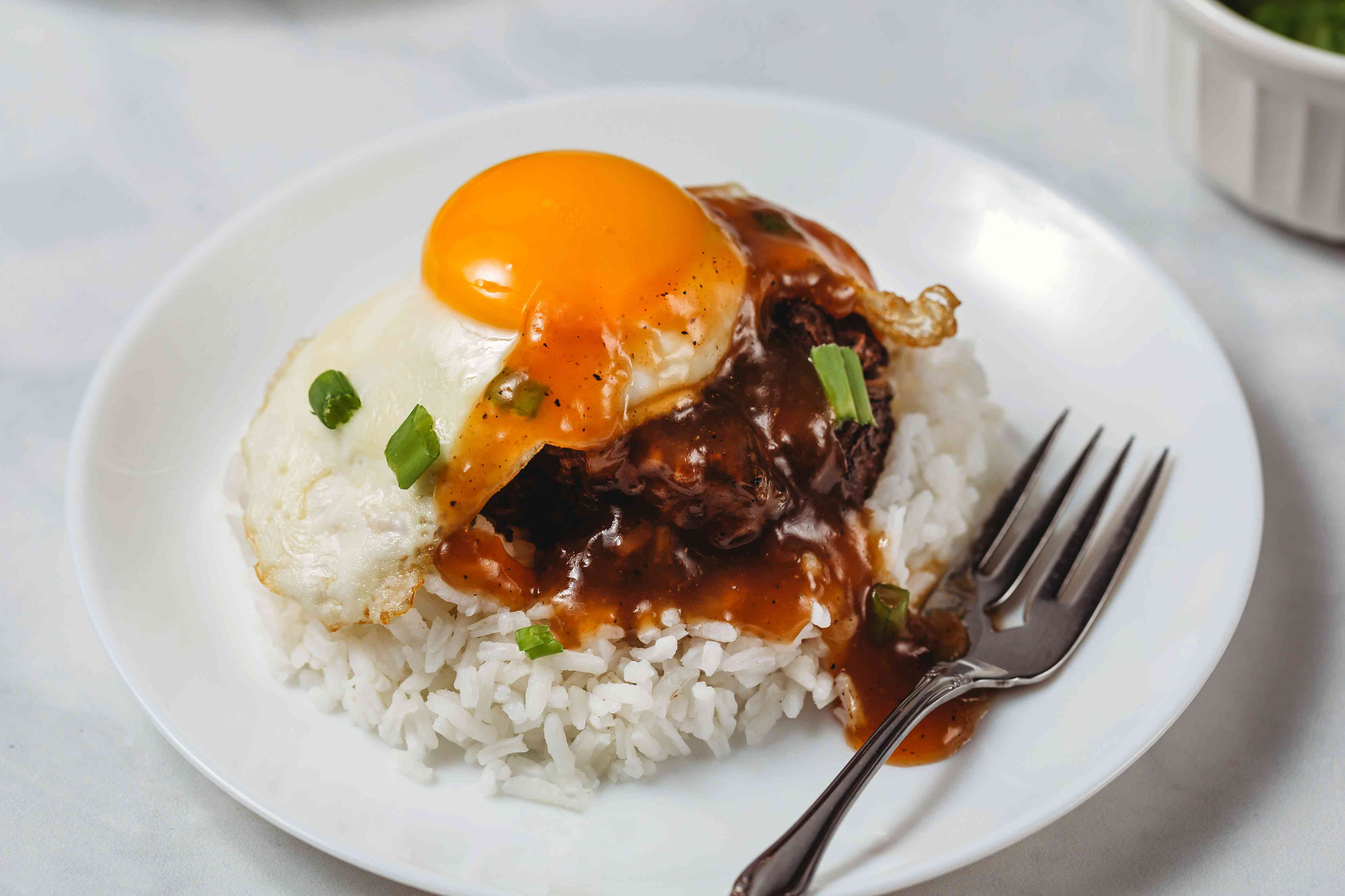 Hawaiian Loco Moco Barbecue served on rice with an egg and gravy