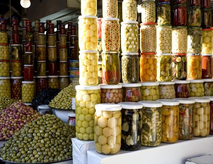 Olives for sale in souks in medina (old walled city) of Marrakesh, Morocco.