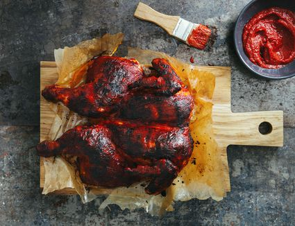 Spatchcocked barbecued chicken