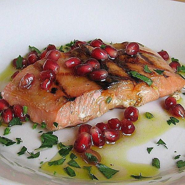 Grilled Salmon with Pomegranate Vinaigrette